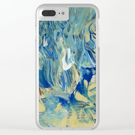 Blue Wave Waterfall Clear iPhone Case