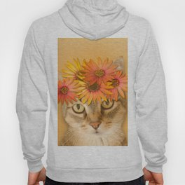 Tabby Cat with Daisy Flower Crown, Mustard Yellow Background Hoody