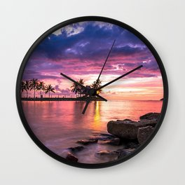 tanjung aru kota kinabalu sabah coast malaysia borneo shangri-la sunset Wall Clock