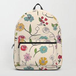 Hand-drawn garden in cream Backpack