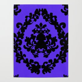Victorian Damask Purple and Black Poster