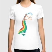 humor T-shirts featuring Fat Unicorn on Rainbow Jetpack by Picomodi