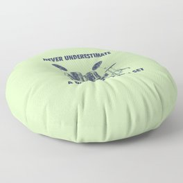 Never Underestimate A Dad With A Drum Set Funny Drums Vintage Drummer Distressed Floor Pillow