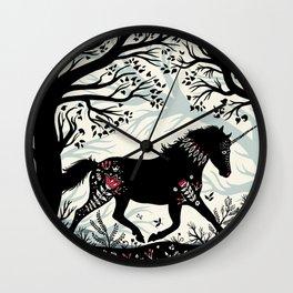 Folk Unicorn Wall Clock
