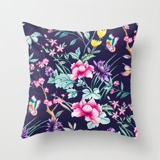 Chinoiserie french navy floral Throw Pillow