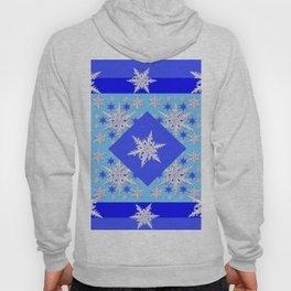 DECORATIVE BABY BLUE SNOW CRYSTALS BLUE WINTER ART Hoody