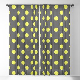 Polka Dots (Classic Yellow & Black Pattern) Sheer Curtain