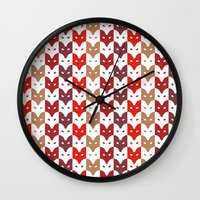 foxes Wall Clocks featuring Foxes  by creaziz