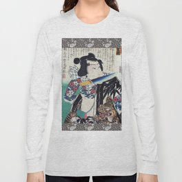 Kunichika Tattooed Warrior with Sayagata Pattern Background Long Sleeve T-shirt