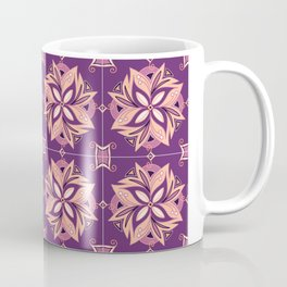 Purple and coral tile design called Figueres Coffee Mug
