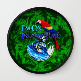 Island Time Surfing Palm Trees Wall Clock