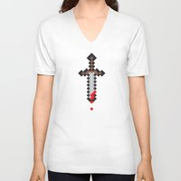 sword V-neck T-shirts featuring Pixel Sword by Matty Spencer