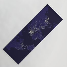 The world map at night in navy blue Yoga Mat