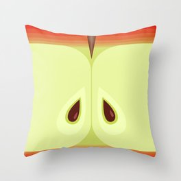 Red Sliced Apple Throw Pillow