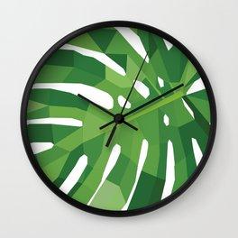 Monstera leaf Geometric art  Green tropical plant Wall Clock