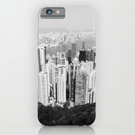 Hong Kong Cityscape // Sky Scraper Skyline Landscape Photography Black and White Buildings iPhone Case