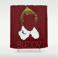 will ferrell Shower Curtains featuring Buddy the Elf and you by Ally Simmons