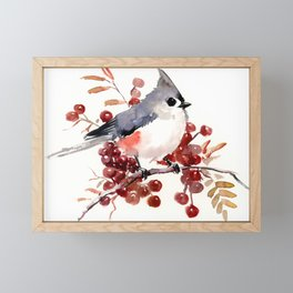 Titmouse and Berries, red fall colors, birds and flowers vintage style east coast Framed Mini Art Print