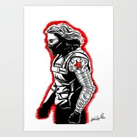 the winter soldier Art Prints featuring Winter Soldier by Lydia Joy Palmer