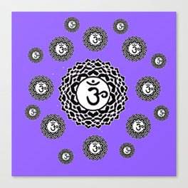 "ASTRAL VIOLET BLACK SANSKRIT CHAKRAS  PSYCHIC WHEEL ""KNOW"" Canvas Print"
