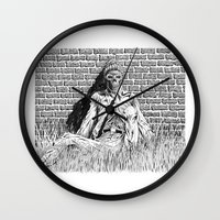 """lovecraft Wall Clocks featuring Story Illustration for """"The White Ship' by H.P. Lovecraft by Robles Art"""