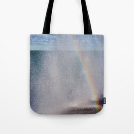 Lake Michigan Natural Fountains #5 - Sunbow (Chicago Waves Collection) Tote Bag