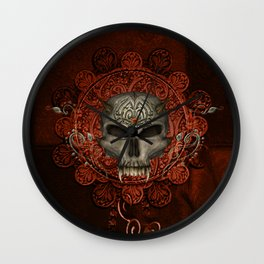 Awesome skull with spider Wall Clock