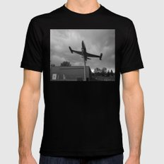 Plane Black and White Black LARGE Mens Fitted Tee