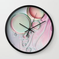 girly Wall Clocks featuring Girly Girly Bubble Abstract by Sharon Johnstone