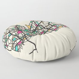 Colorful City Maps: Long Island, United States Floor Pillow