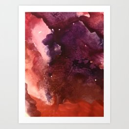 Starlight [2]: a pretty abstract watercolor piece in reds and purples by Alyssa Hamilton Art Art Print