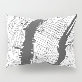 New York City White on Gray Street Map Pillow Sham