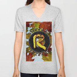 "Initial ""R"" =Free Style Unisex V-Neck"