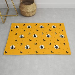 Halloween seamless pattern with flying witch, black crows Rug