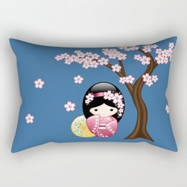 Japanese Spring Kokeshi Doll on Blue Rectangular Pillow