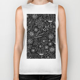 Floral pattern Black and White 3 Biker Tank