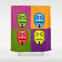 vendetta Shower Curtains featuring Pop Art Pixel Fawkes by Zeusdom Designs