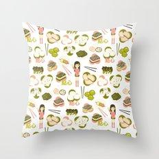 Dim sum pattern Throw Pillow