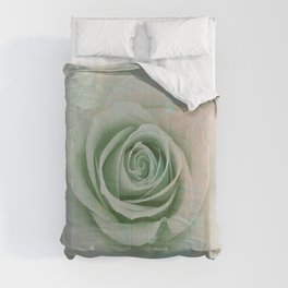 Elegant Painterly Mint Green Rose Abstract Comforters