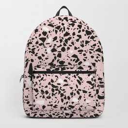 'Speckle Party' Soft Pink Black White Dots Speckle Terrazzo Pattern Backpack