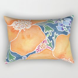 Masked Flora Collection Poppies Rectangular Pillow