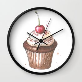 Delicious cupcake with cherry on top Wall Clock