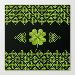 Irish Shamrock Four-leaf clover with celtic decor Canvas Print