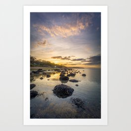 Sunset The Rockery Isle of Wight Art Print