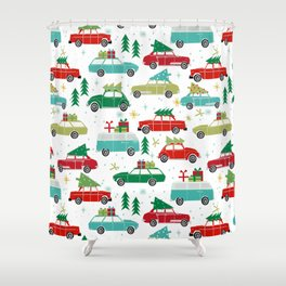 Christmas holiday vintage cars classic festive christmas tree snowflakes winter season Shower Curtain