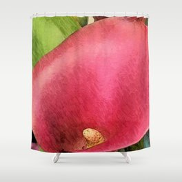 Red Flower Funnel Shower Curtain