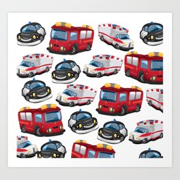Fire, Police and Ambulance toy car pattern Art Print
