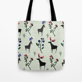 Berry loving deers on a green background Tote Bag