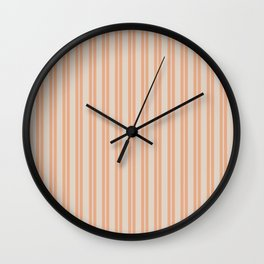 Double Stripes Stripe Pattern in Salmon Blush and Light Putty Wall Clock