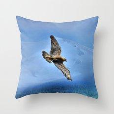 Peregrin Falcon Soaring Throw Pillow